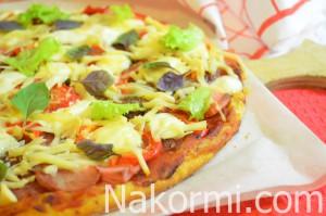 Пицца из слоеного теста с копченой колбасой - рецепт пошаговый с фото