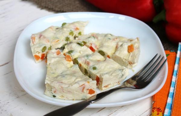 Куриное суфле с овощами в мультиварке на пару