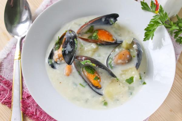 Сливочный суп с мидиями