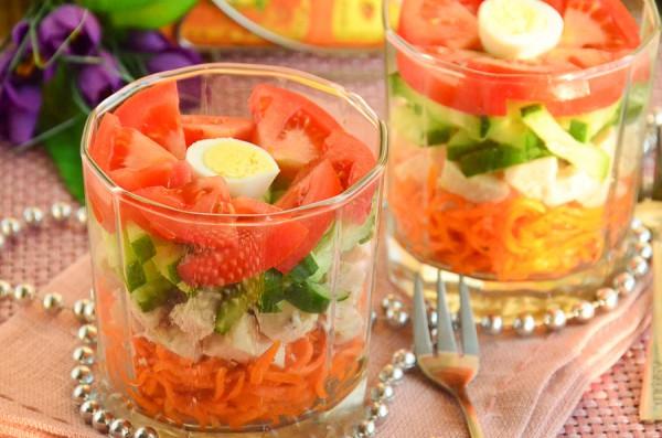 Салат Весенний с курицей и овощами