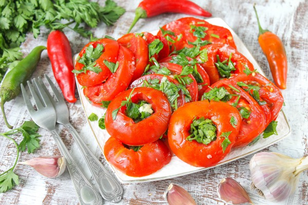 Малосольные помидоры за 30 минут