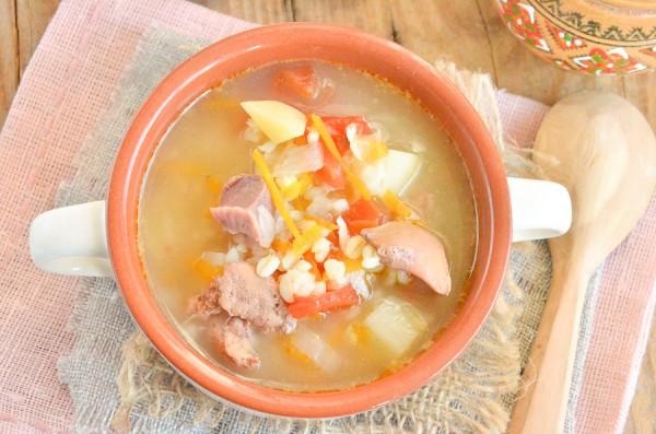 Суп с булгуром и потрошками