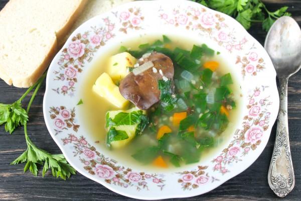 Суп из шпината с утиными потрошками