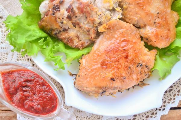 Курица, жаренная в лимонном маринаде
