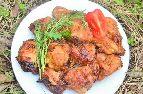 Куриный шашлык с луком и соевым соусом