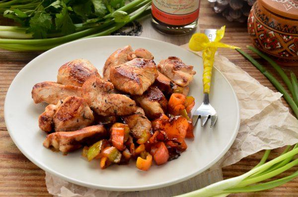 Куриное филе, жаренное в вустерширском соусе