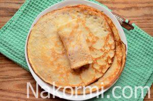 Блины фаршированные колбасой и сыром