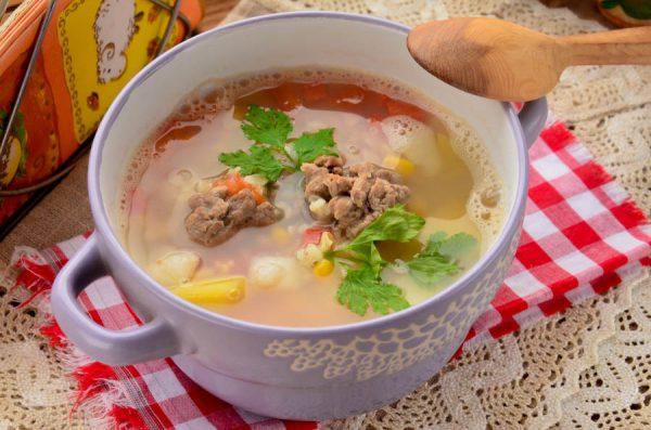 Овощной суп с говяжьими фрикадельками