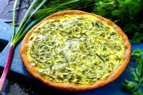Песочный пирог с зеленью