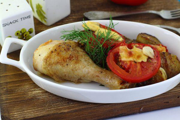 Баклажаны с курицей в духовке