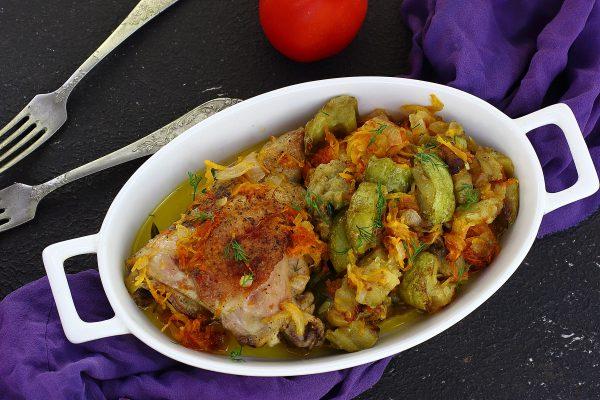 Курица с баклажанами и кабачками в духовке