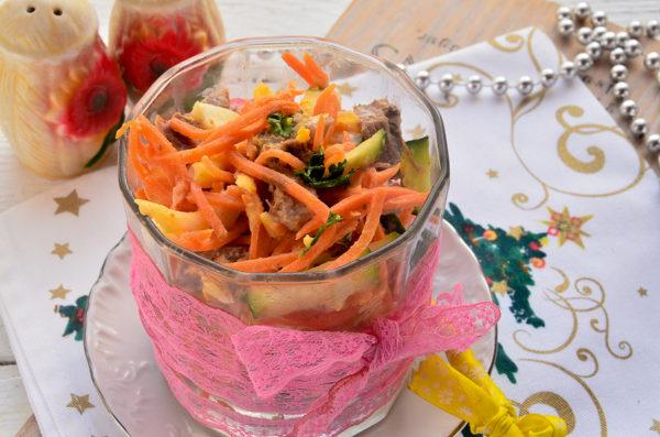 Салат с языком и корейской морковью