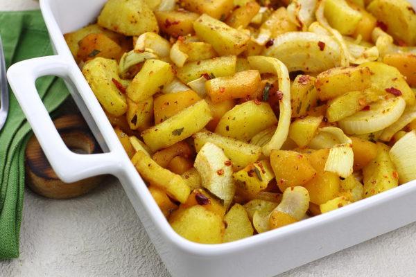 Картошка, запеченная с тыквой