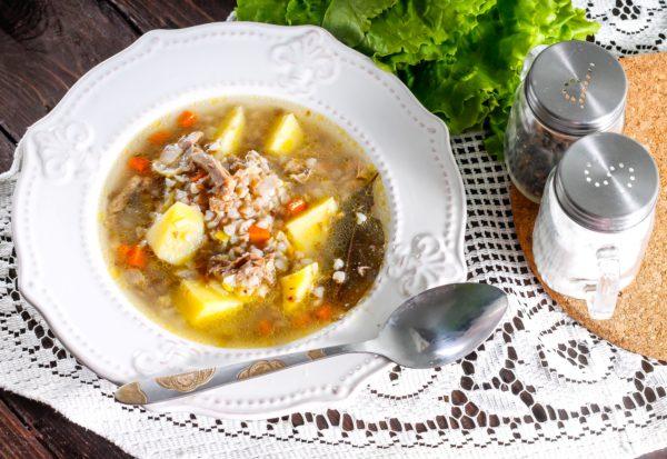 Гречневый суп на утином бульоне