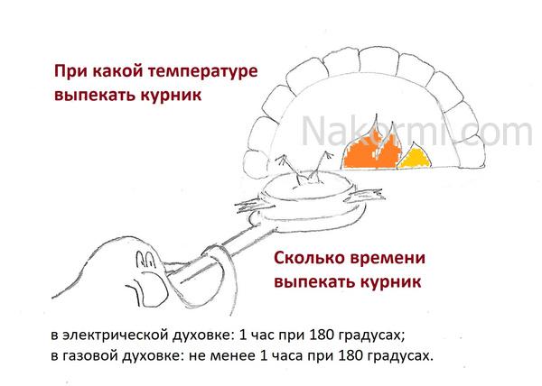 При какой температуре выпекать курник