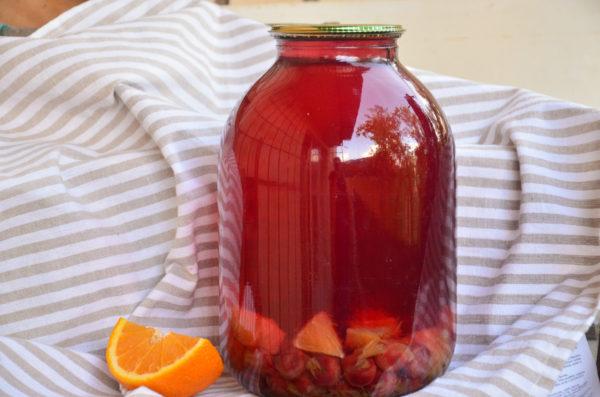 Компот из вишни с апельсином на зиму без стерилизации