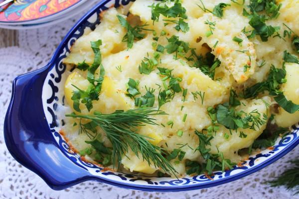 Картофель, запеченный со сливками и сыром
