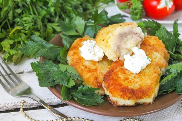 Картофельные зразы с печеночным паштетом