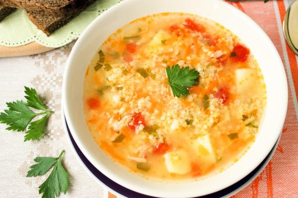 Суп из семги с пшеном