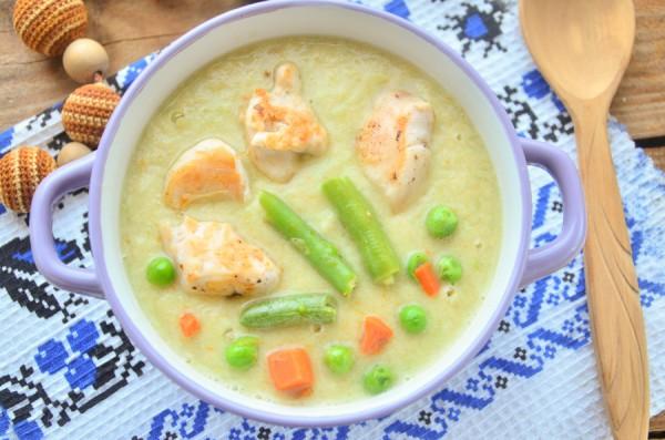 Овощной суп-пюре с курицей