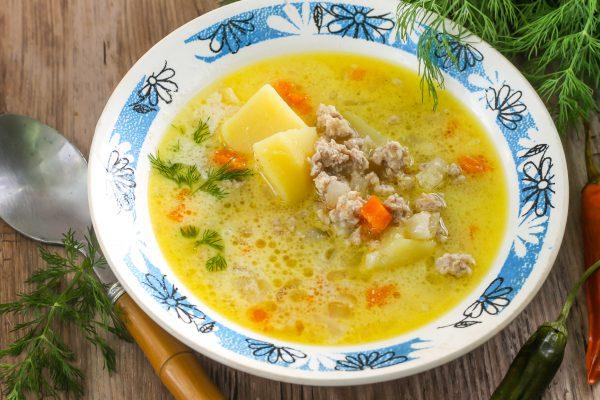 Сметанный суп с фаршем