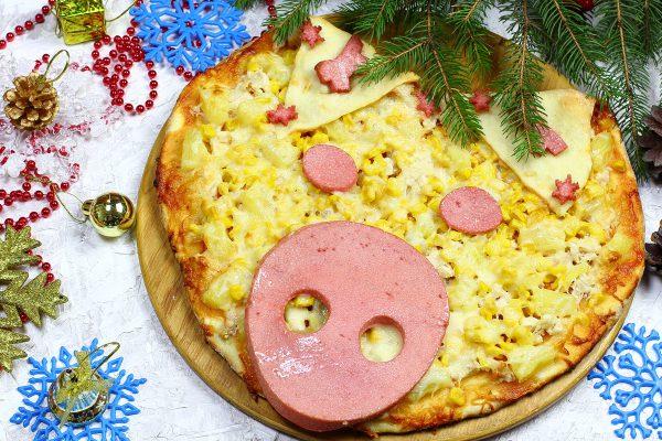 Новогодняя пицца Поросенок